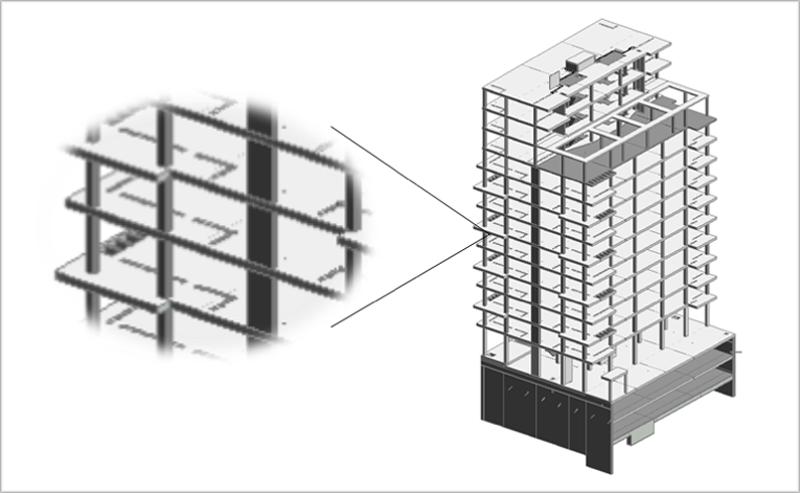 Figura 2. Modelo BIM de la estructura con los huecos para embeber elementos de baja resistencia térmica en estructura.