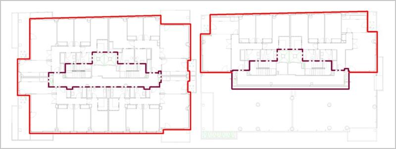 Figura 4. A la derecha envolvente P1-9, a la izquierda envolvente P10-12.