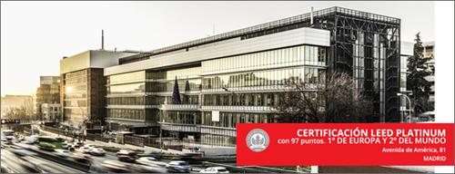 Figura 3. Primera empresa en España con dos edificios de oficinas con certificación LEED PLATINUM. Edificios AA81 y AA79.