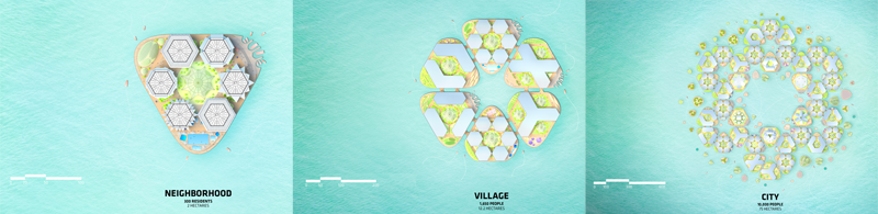Concepto de barrio, aldea y ciudad de Oceanix City.