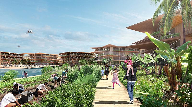 En la ciudad prima el uso de materiales sostenibles para la edificación y la agricultura comunitaria. Imagen de Oceanix/BIG-Bjarke Ingels Group.