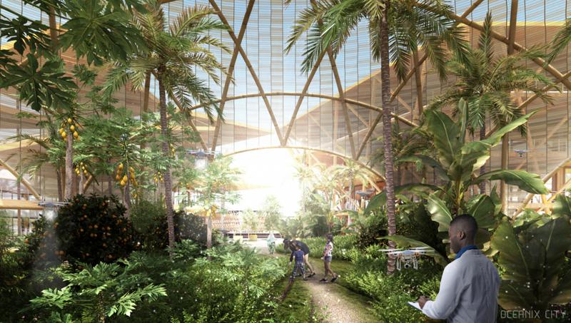 Interior de la granja, que es trabajada por los residentes de la ciudad. Imagen de Oceanix/BIG-Bjarke Ingels Group.