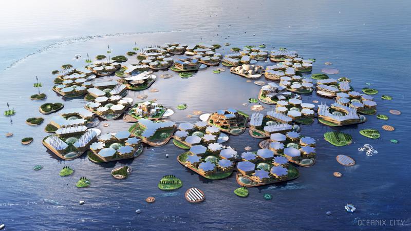 Infografía de Oceanix City. Imagen de Oceanix/BIG-Bjarke Ingels Group.