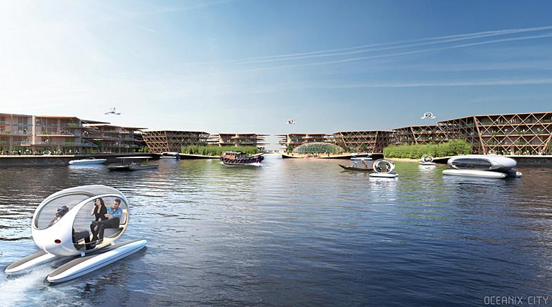 Infografía de cómo sería el puerto central. Imagen de Oceanix/BIG-Bjarke Ingels Group.