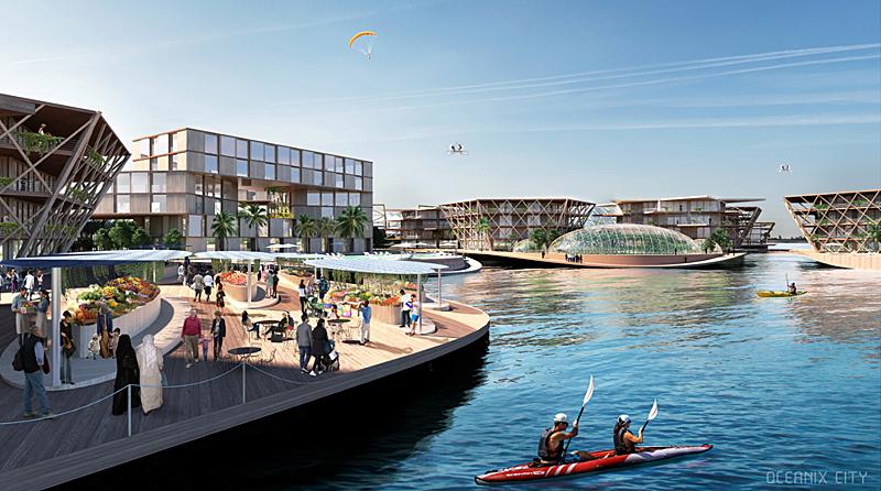 Todos los espacios se diseñan abiertos e instan a reunirse y socializar. Imagen de Oceanix/BIG-Bjarke Ingels Group.