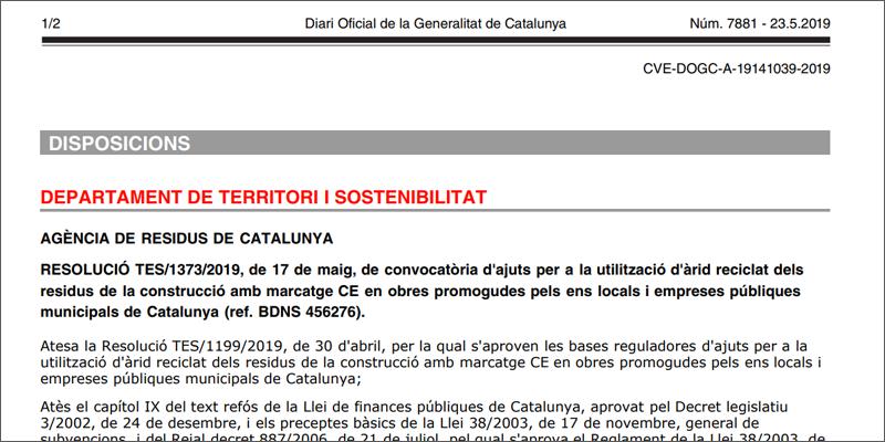 convocatoria uso de áridos cataluña