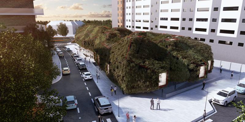 futura Biblioteca Municipal de Villaverde cubierta verde