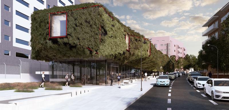futura Biblioteca Municipal de Villaverde vista de las dos plantas