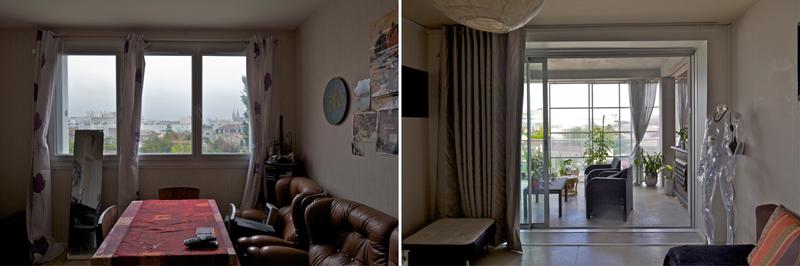 Imágenes del antes y el después de la obra en el interior de las viviendas.