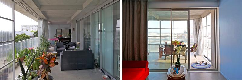 Imágenes del resultado del jardín interior de dos de los apartamentos.