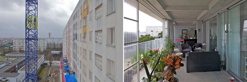 Imagen donde pueden verse las ventanas antes de la obra, y el jardín de invierno como resultado de la obra.