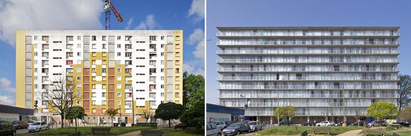 Imagen de uno de los edificios antes y después de las obras de rehabilitación