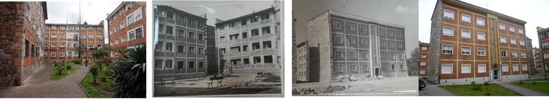 Figura 1. Fotografías del barrio en su construcción -año 1955- y en la actualidad. Fuente:(Marqués, 2017).