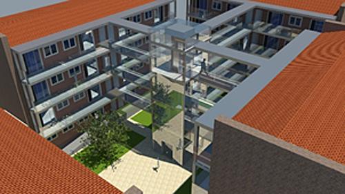 Figura 4. Infografía de la propuesta con el núcleo central, terrazas y pasarelas. Fuente: (Marqués, 2017).