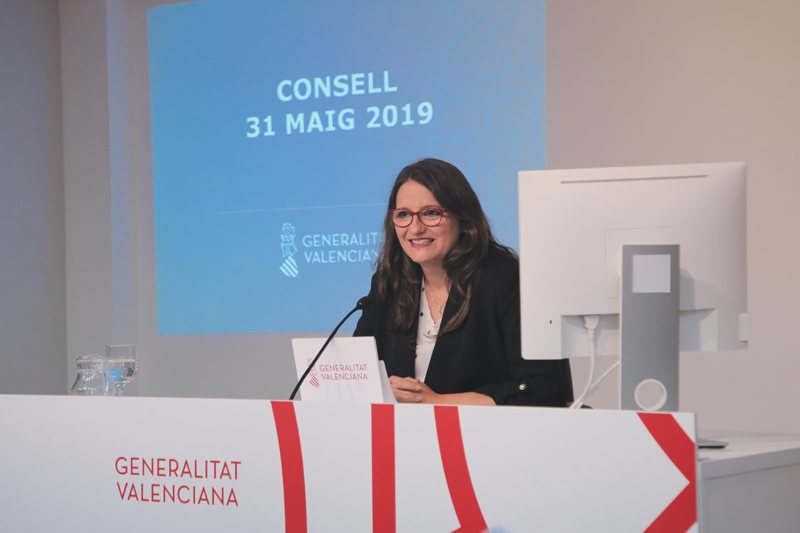 Vicepresidenta y portavoz del Consell, Mónica Oltra, durante la rueda de prensa.