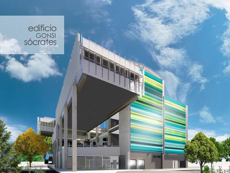 Render que representa el futuro aspecto del Edificio Gonsi Sócrates.