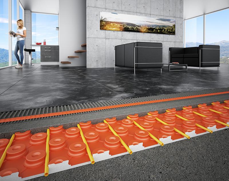 Sistema de pavimento cerámico climatizado BEKOTEC-THERM.