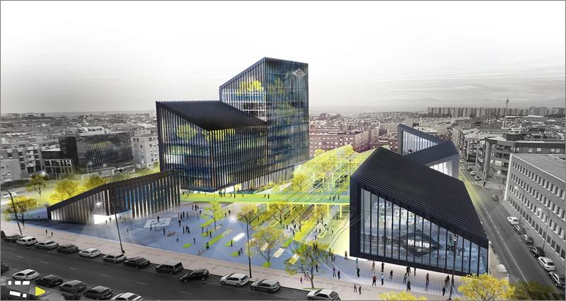 Vista aérea del futuro aspecto de la nueva sede de Metro Madrid.