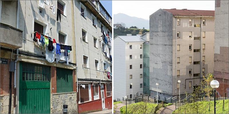 Edificios de los barrios de Otxarkoaga (Bilbao) y Txonta (Eibar).