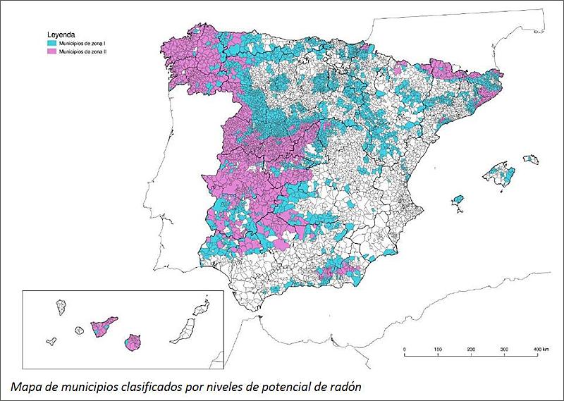 mapa gas radón en españa