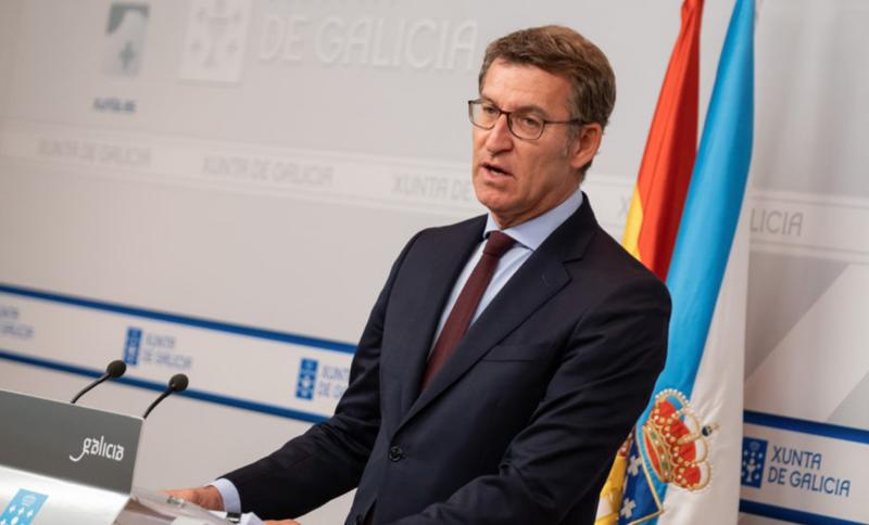 Alberto Núñez Feijóo, presidente de la Xunta de Galicia, durante su intervención en la rueda de prensa del Consejo la pasada semana.
