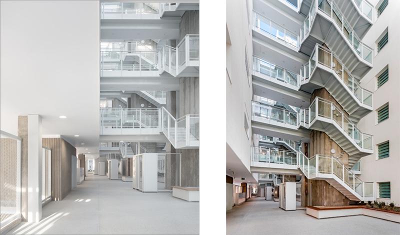 El pasillo interior proporciona asoleamiento y ventilaciones para garantizar las mejores condiciones pasivas de las viviendas.