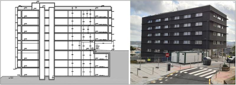 plano y foto de edificio