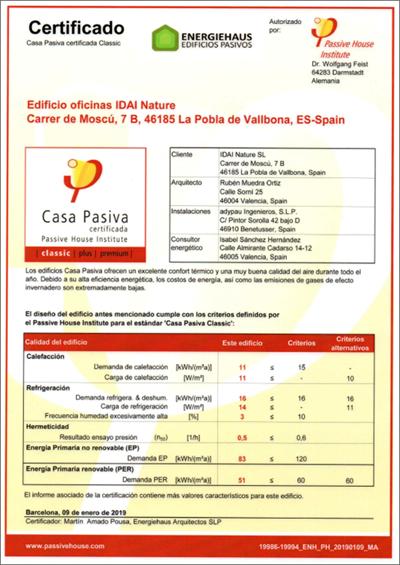Figura 2. Certificado Passivhaus.