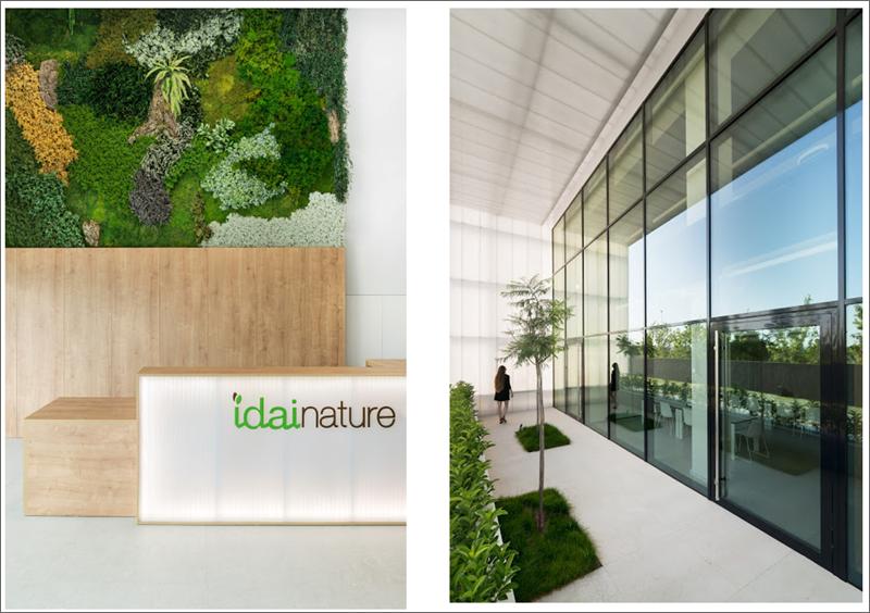 Figura 3 y 4. Imágenes del acceso al interior del edificio y del muro cortina y voladizo (protección solar fija) ubicado a Sur.