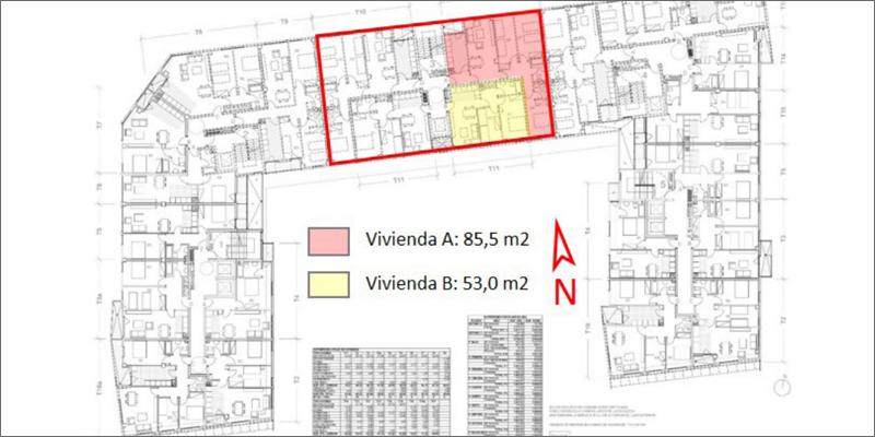 Sección en planta del edificio plurifamiliar con las viviendas objeto del estudio remarcadas