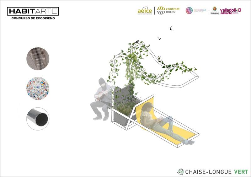 Diseño ganador Chaise-Longue Vert, diseñada por alumnos de la ETSAVA.