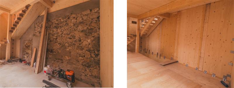 Imágenes del antes y después de revestir las paredes de la primera planta de madera.