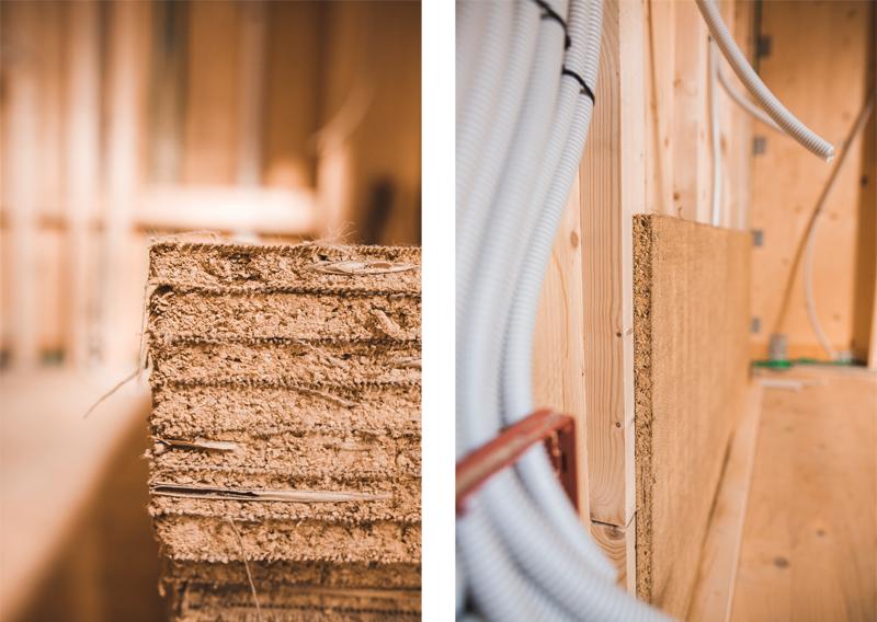 Paneles de arcilla (izquierda) y trasdosado de arcilla (derecha).