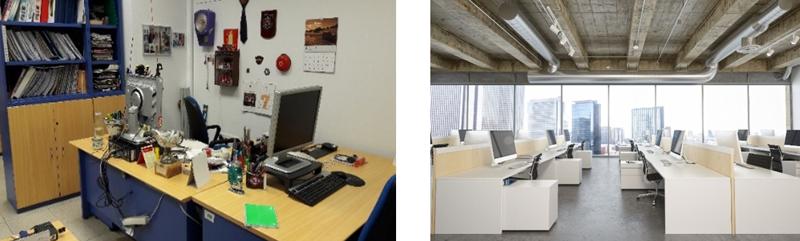 Dos imágenes comparando el puesto de trabajo en la sede actual con el puesto de trabajo de la sede nueva.