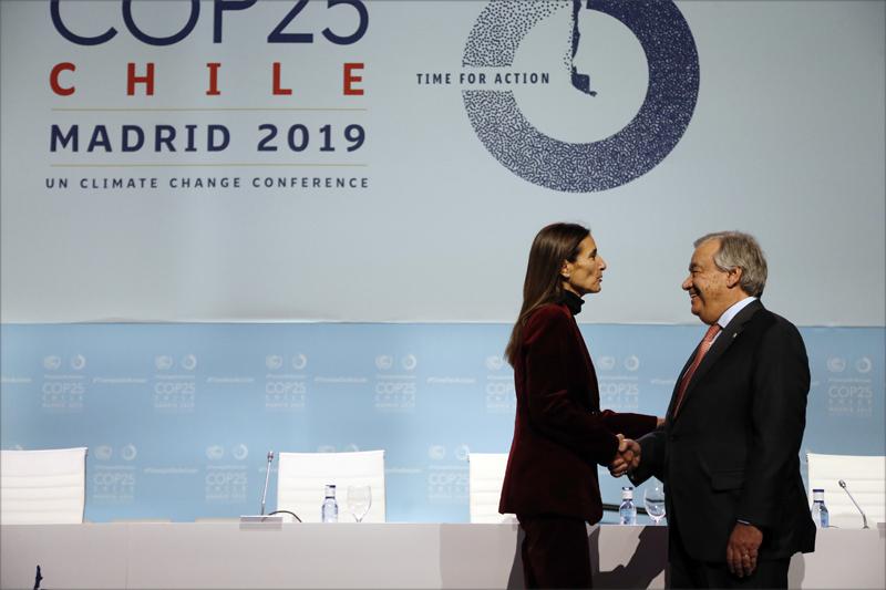 La Presidenta de COP25, la Ministra de Medio Ambiente de Chile, Carolina Schmidt, junto al Secretario General de las Naciones Unidas, António Guterres.