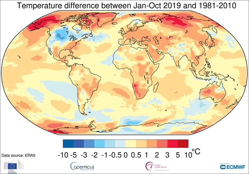 mapa que muestra la diferencia de temperatura mundial entre Enero-Octubre 2019 y 1981-2010.