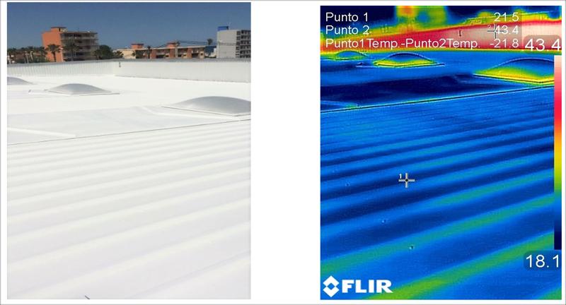 Figuras 3 y 4. Imagen de cubierta metálica tratada y medición con cámara termográfica, realizada a las 12h. Reducción de temperatura superficial de 21,8 grados, respecto a una zona de la cubierta no tratada.