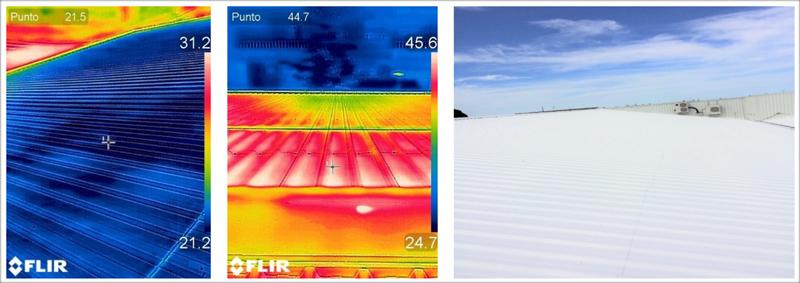 Figuras 5, 6 y 7. Imágenes termográficas captadas a las 11h de la cubierta de chapa metálica tratada y no tratada. Diferencia de temperatura superficial de 23,2 grados. En la derecha vemos el acabado de la cubierta tratada.