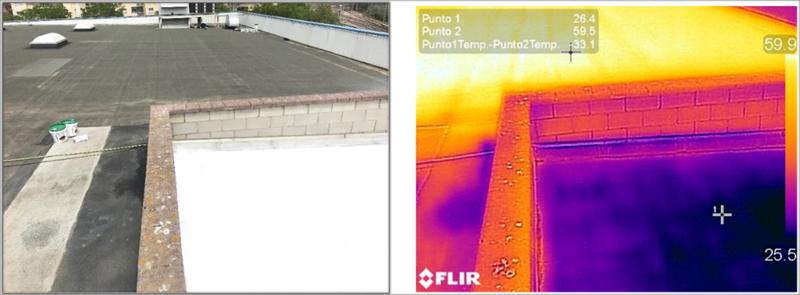 Figuras 8 y 9. Imagen de la cubierta de tela asfáltica, zona pintada y zona sin tratar. Comparada con la medición con cámara termográfica que muestra una reducción de temperatura de 33'1ºC.