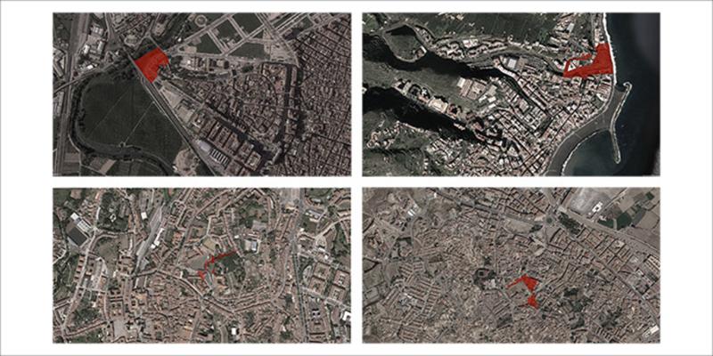 Imágenes de los 4 emplazamientos seleccionados en la primera fase