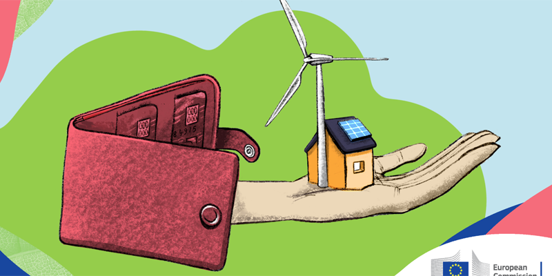 inforgrafía de inversión en energía renovable y edificios sostenibles