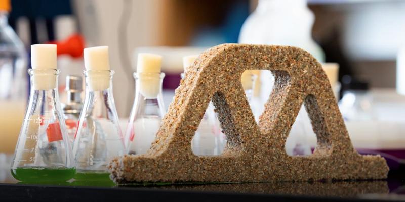 Pieza hecha del material investigado hecho con bacterias vivas.
