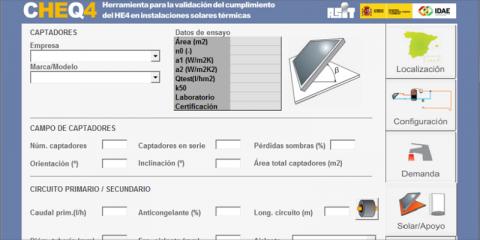 La herramienta CHEQ4 se actualiza para adaptarla a las modificaciones de HE4 del CTE sobre renovables para ACS