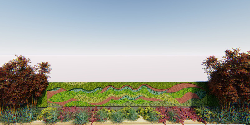 Imagen del diseño del jardín vertical.