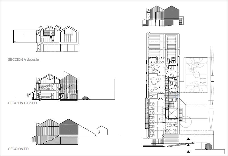 Figura 3. Planta, alzado y secciones transversales.