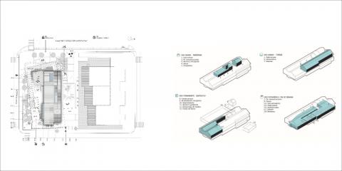 Biblioteca solar: Compacidad tipológica; ganancias solares, implicación térmica del terreno; y optimización energética del programa de usos