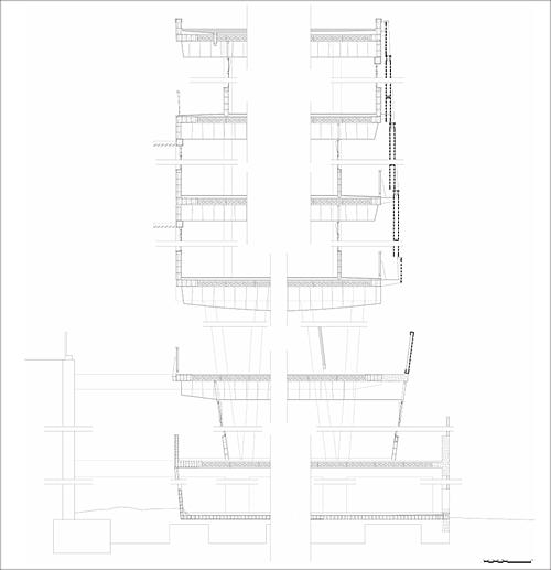 Figura 1. Sección constructiva del edificio de la Sede administrativa.