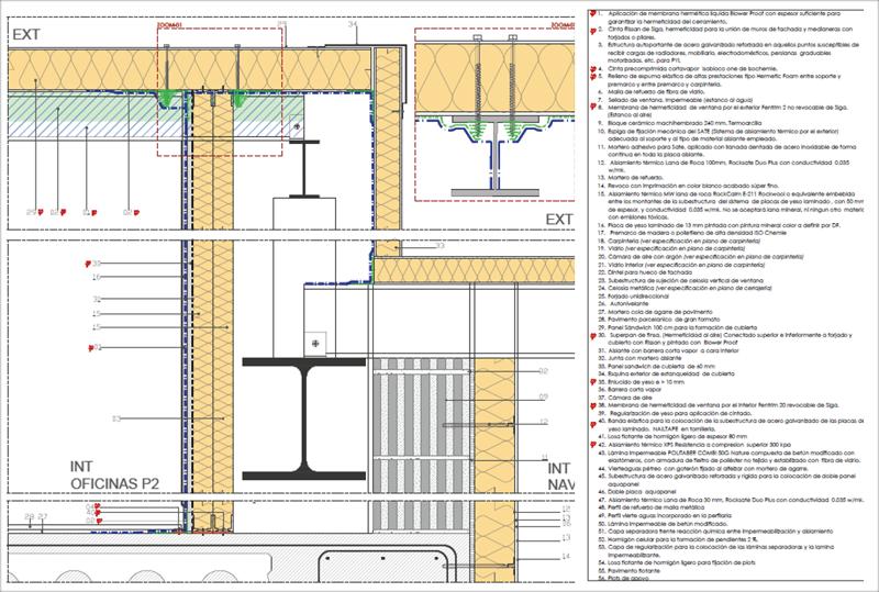 Figura 4. Detalle Constructivo. Continuidad de la capa hermética con nave medianera.