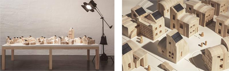 Maqueta de SolarVille construida en madera.