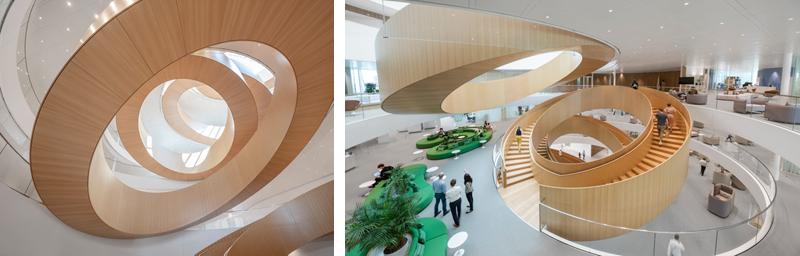 Interior de las instalaciones de Olympic House, con la escalera central como elemento destacado.